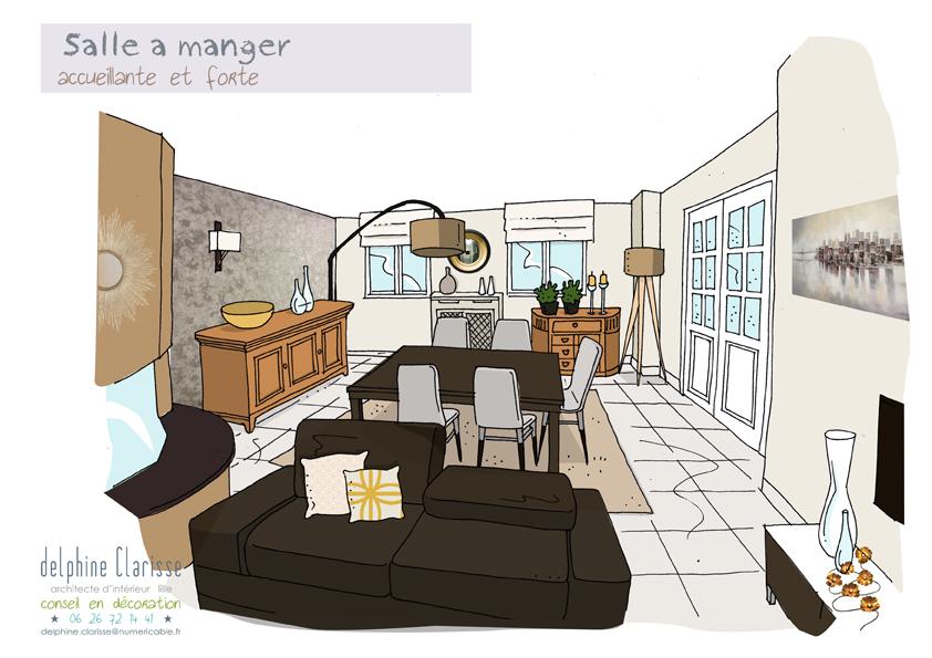 Un salon modernis architecture d 39 int rieur coaching for Croquis salon