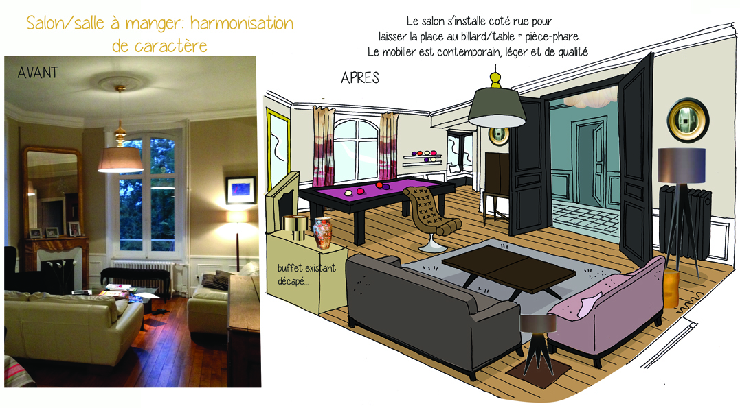 Emejing faire croquis appartement entree et salon pictures for Salon appartement