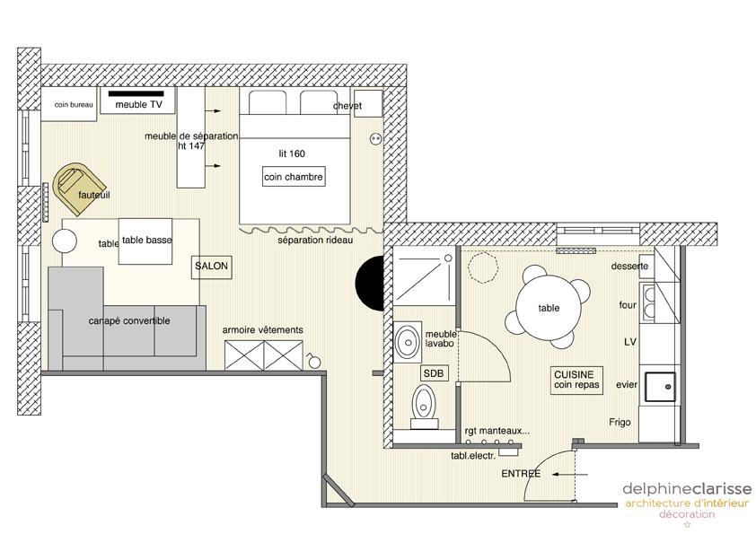 aménagement intérieur appartement plan