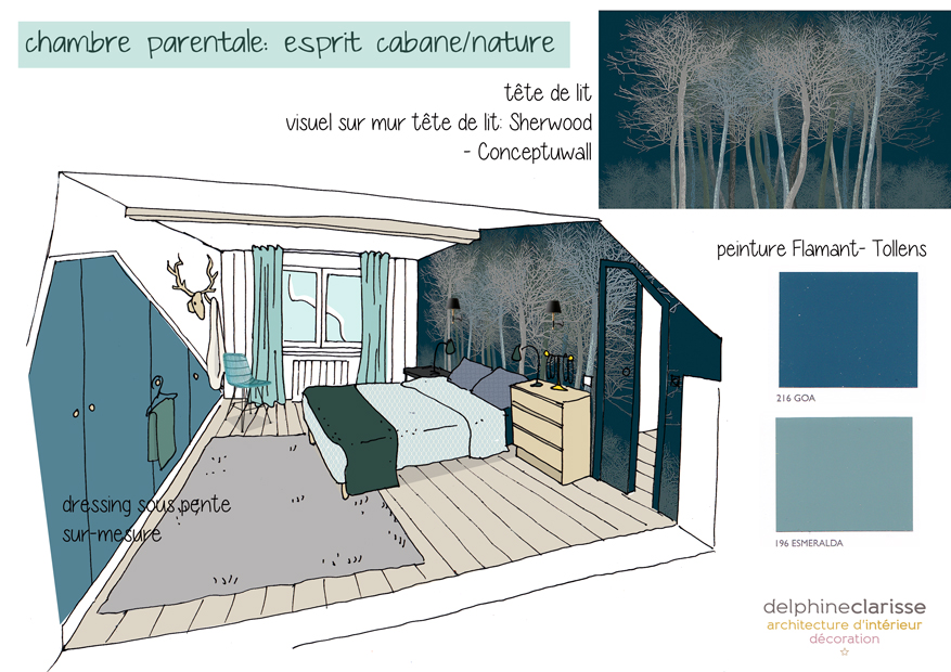 Am nagement d 39 une chambre parentale esprit cabane nature for Amenagement chambre parents