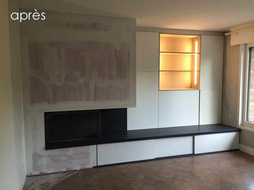 Deco Niche Salle De Bain : nouvelle cheminée laquée banche avec rangements coulissants et niche …