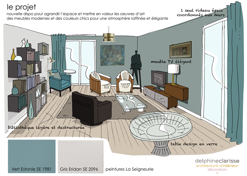 projet d 39 am nagement d 39 un salon croix architecture d. Black Bedroom Furniture Sets. Home Design Ideas