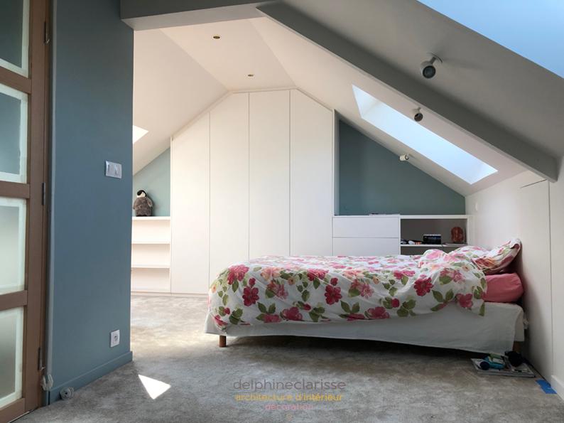 avant apr s chambre parentale et salle de douche dans les combles architecture d 39 int rieur. Black Bedroom Furniture Sets. Home Design Ideas